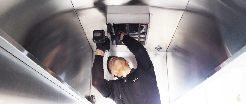 これはハイガードと言う装置になります。炎などの高温を感知し、排気を止めるシステムです。